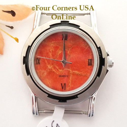 Men's 51M Natural Apple Coral Etched Watch Face 18mm pin NAWF-AC-51M Closeout Final Sale Four Corners USA OnLine Southwest Jewelry Supplies