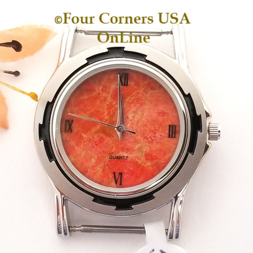 Men's 52M Natural Apple Coral Etched Watch Face 18mm pin NAWF-AC-52M Closeout Final Sale Four Corners USA OnLine Southwest Jewelry Supplies