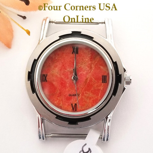 Men's 53M Natural Apple Coral Etched Watch Face 18mm pin NAWF-AC-53M Closeout Final Sale Four Corners USA OnLine Southwest Jewelry Supplies