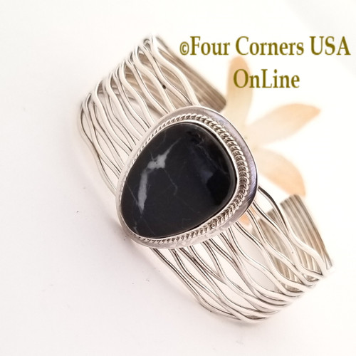 Black White Lightning Cuff Bracelet Navajo Murphy Platero Special Buy NAC-1465 Four Corners USA OnLine Native American Silver Jewelry