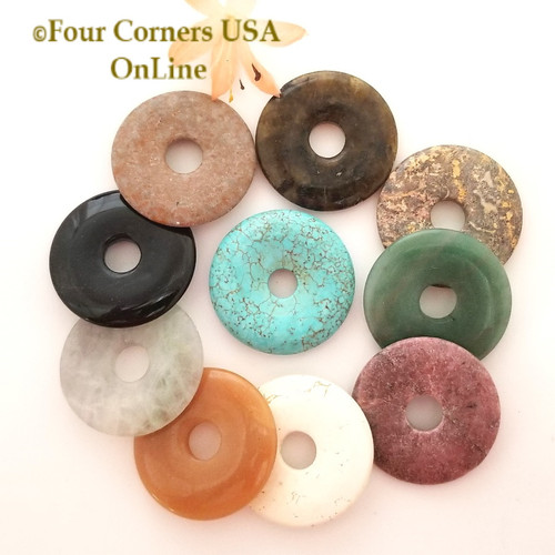 Assorted 40mm Gemstone Donut Jewelry Component 24 Pieces Closeout Final Sale BDZ-2041 Four Corners USA OnLine Jewelry Making Beading Craft Supplies