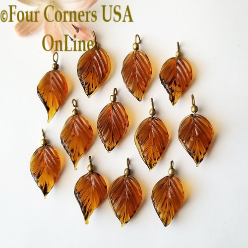 Amber Glass Leaf Drops 12 Pieces Four Corners USA OnLine Jewelry Making Beading Craft Supplies