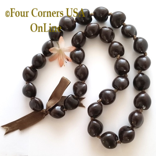 Hawaiian Kukui Nut Lei Necklace Natural Brown Four Corners USA OnLine Jewelry Making Beading Craft Supplies