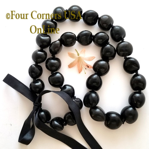 Hawaiian Kukui Nut Lei Necklace Natural Black Four Corners USA OnLine Jewelry Making Beading Craft Supplies