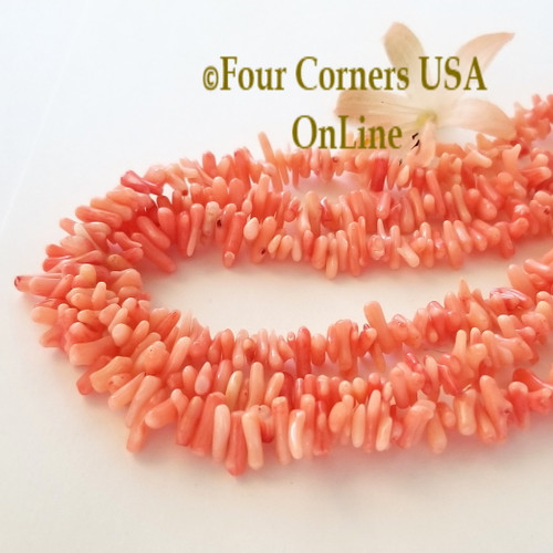 Center Drilled Salmon Branch Coral Bead Strands Bulk 3 Strand Closeout Four Corners USA OnLine Jewelry Making Beading Craft Supplies