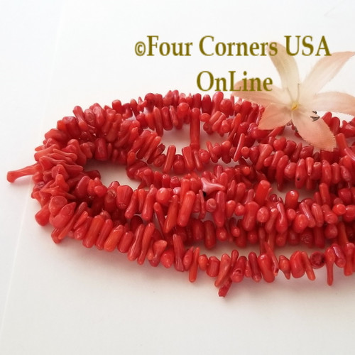 Center Drilled Red Branch Coral Bead Strands Bulk 4 Strand Closeout Four Corners USA OnLine Jewelry Making Beading Craft Supplies