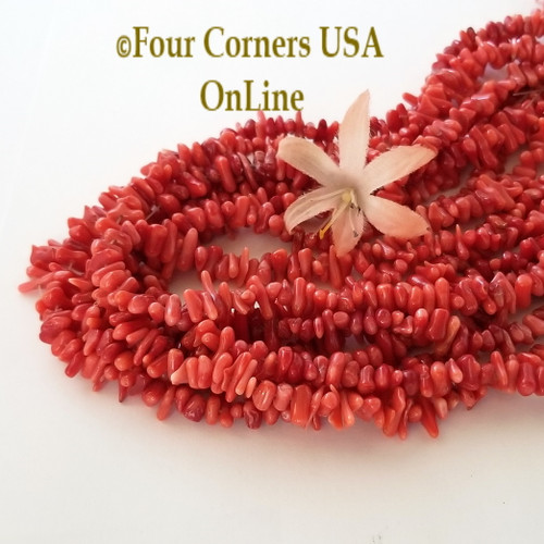 Center Drilled Red Branch Coral Bead Strands Bulk 8 Strand Closeout Four Corners USA OnLine Jewelry Making Beading Craft Supplies