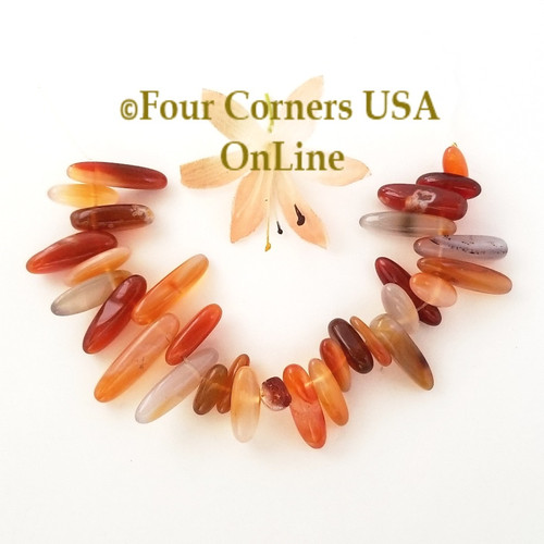Carnelian Top Drilled Stick Bead 6 Inch Strands Closeout Final Sale BDZ-2068 Four Corners USA OnLine Jewelry Making Beading Craft Supplies