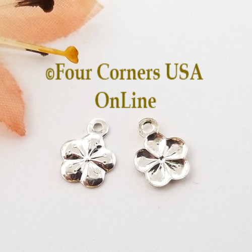 Flower Charms Drops 150 Pieces Bright Silver Plated Jewelry Component BDZ-2072 Closeout Final Sale Four Corners USA Online Jewelry Making Beading Crafting Supplies