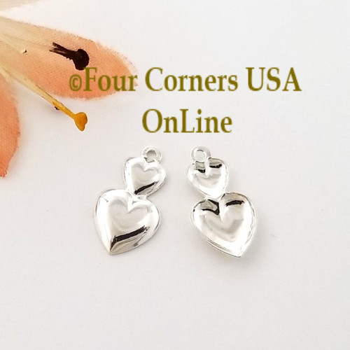 Double Heart Charms 32 Pieces Bright Silver Plated Jewelry Component BDZ-2073 Closeout Final Sale Four Corners USA Online Jewelry Making Beading Crafting Supplies