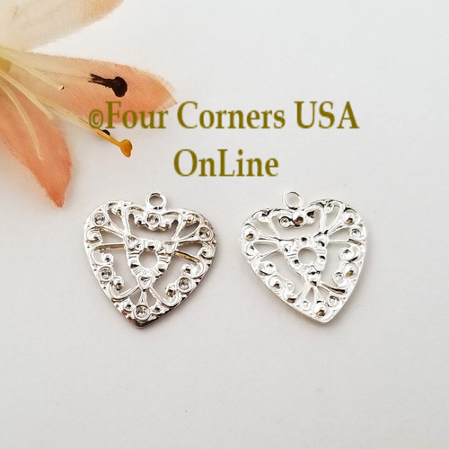 Heart Cutout Charms 30 Pieces Bright Silver Plated Jewelry Component BDZ-2076 Closeout Final Sale Four Corners USA Online Jewelry Making Beading Crafting Supplies