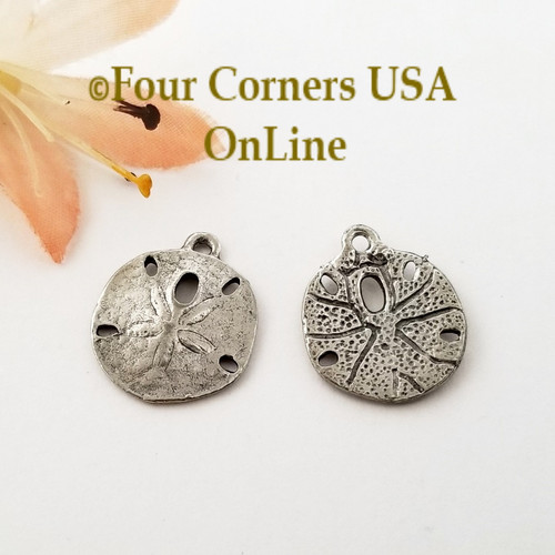 Sand Dollar Charms Antique Silver Plated Jewelry Component 8 Pieces BDZ-2077 Closeout Final Sale Four Corners USA Online Jewelry Making Beading Crafting Supplies