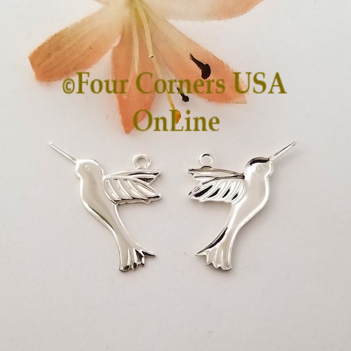 Humming Bird Charms 10 Pieces Bright Silver Plated Jewelry Component BDZ-2079 Closeout Final Sale Four Corners USA Online Jewelry Making Beading Crafting Supplies