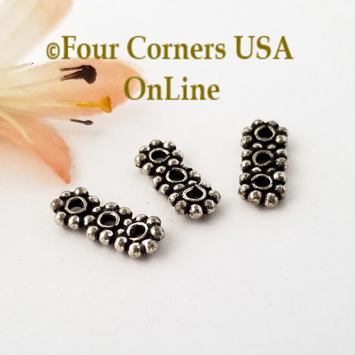 3 Strand Spacer Bead Sterling over Copper Closeout Final Sale BDZ-2091 Four Corners USA OnLine Jewelry Making Beading Craft Supplies