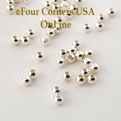 2.5mm Smooth Round Bright Silver Plated Beads Approximately 300 Pieces BDZ-2102 Four Corners USA OnLine Designer Jewelry Making Beading Craft Supplies