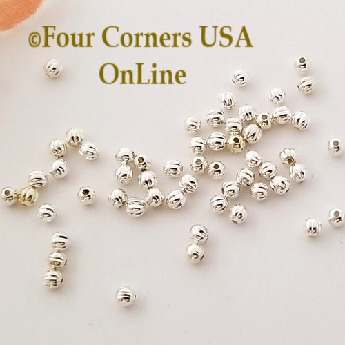 2.4mm Corrugated Round Bright Silver Plated Beads Approximately 300 Pieces BDZ-2104 Four Corners USA OnLine Designer Jewelry Making Beading Craft Supplies