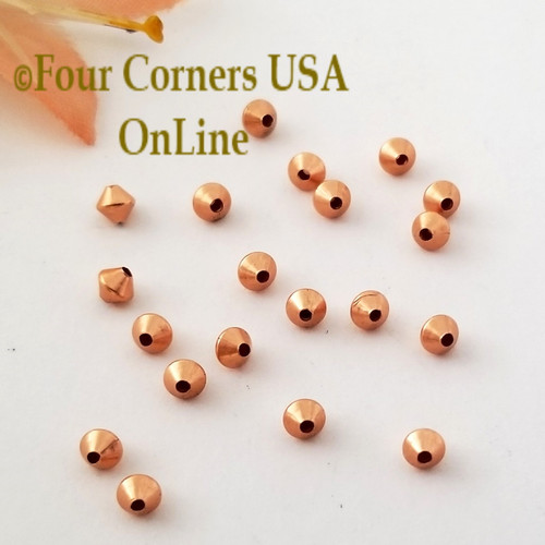 3mm Smooth Bicone Copper Beads Approximately 323 Pieces BDZ-2106 Four Corners USA OnLine Designer Jewelry Making Beading Craft Supplies