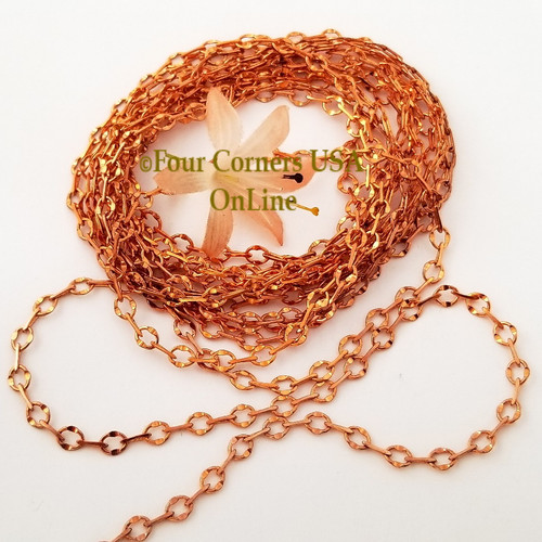Copper Chain 5mm Stamped Oval Bar Link 124 Inch Bulk Closeout Final Sale BDZ-2115 Four Corners USA OnLine Jewelry Making Beading Craft Supplies