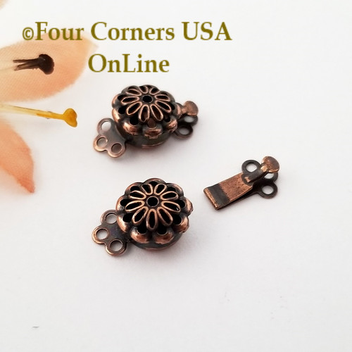 Copper Triple Strand Slide Clasp Jewelry Finding 10 Clasps Closeout Final Sale BDZ-2116 Four Corners USA OnLine Jewelry Making Beading Craft Supplies
