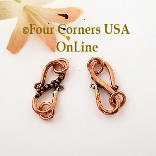 Copper S Hook Clasp Bead Accent 5 Clasps Closeout Buy Final Sale BDZ-2118 Four Corners USA OnLine Jewelry Making Beading Craft Supplies