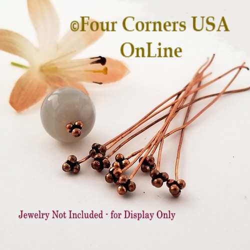 Copper Bead Accent Head Pin Jewelry Finding Component 52 Pieces BDZ-2119 Four Corners USA OnLine Jewelry Making Beading Craft Supplies