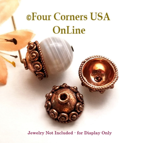 Copper 11mm Bead Cap Jewelry Finding 20 Pieces Closeout Final Sale BDZ-2121 Four Corners USA OnLine Jewelry Making Beading Craft Supplies