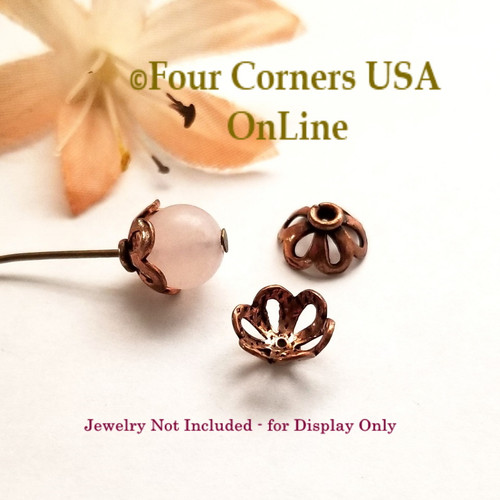 Copper 8mm Bead Cap Jewelry Finding 41 Pieces Closeout Final Sale BDZ-2122 Four Corners USA OnLine Jewelry Making Beading Craft Supplies
