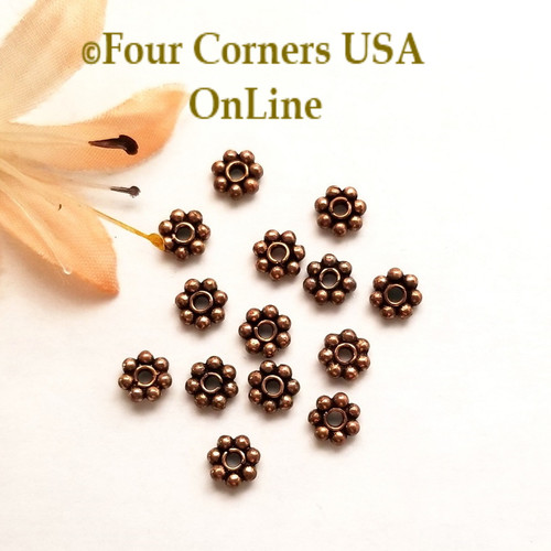 Copper 5mm Daisy Spacer Bead 90 Pieces Jewelry Finding Closeout Final Sale BDZ-2123 Four Corners USA OnLine Jewelry Making Beading Craft Supplies