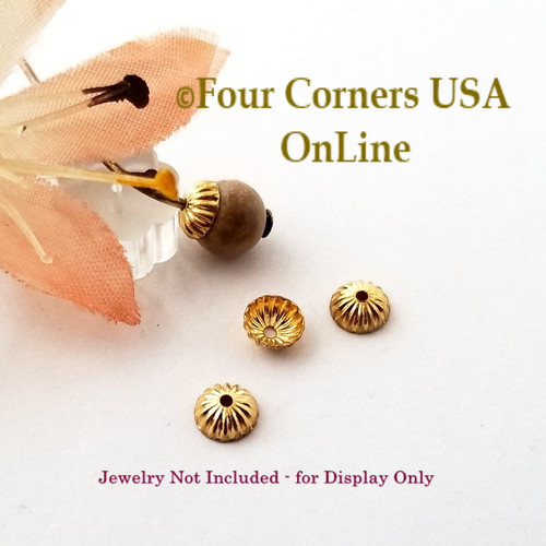 Gold Plated 4mm Bead Cap Jewelry Finding 400 Pieces Closeout Final Sale BDZ-2127 Four Corners USA OnLine Jewelry Making Beading Craft Supplies
