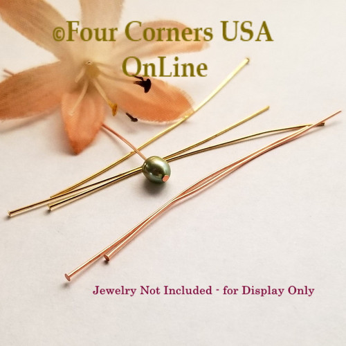 24 Gauge 2 Inch Headpin Gold and Copper Plated Mix 148 Piece Package Closeout Final Sale BDZ-2130 Four Corners USA OnLine Jewelry Making Beading Craft Supplies