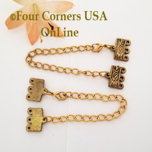 3-Strand End Bar Antiqued Gold Lobster Clasp with Extender Chain 4 Set Closeout Final Sale BDZ-2138 Four Corners USA OnLine Jewelry Making Beading Craft Supplies