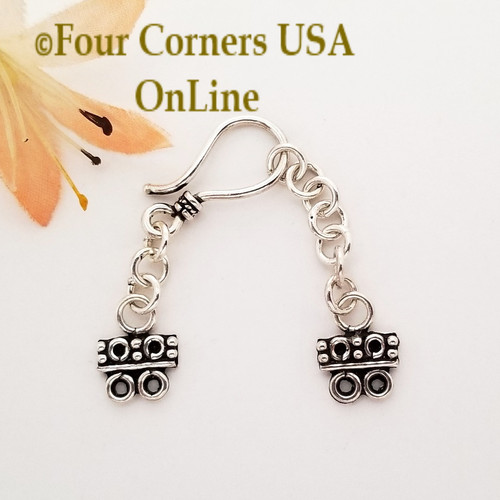 2-Strand End Bar Sterling Silver Hook Clasp with Extender Chain Closeout Final Sale BDZ-2147 Four Corners USA OnLine Jewelry Making Beading Craft Supplies