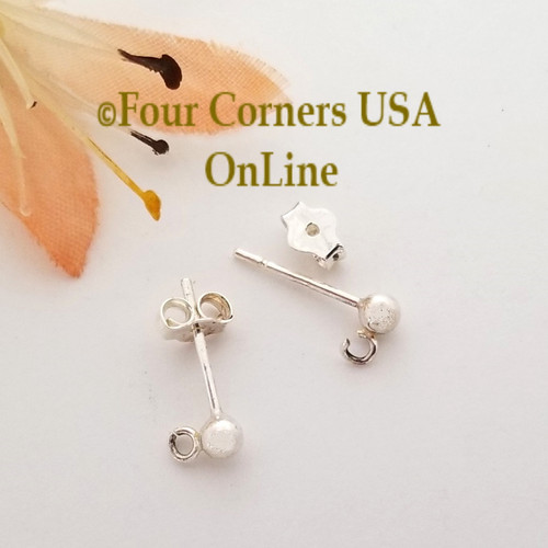 3mm Ball Sterling Silver Post Earring with Loop Special Buy Final Sale BDZ-2152 Four Corners USA OnLine Designer Jewelry Making Beading Craft Supplies