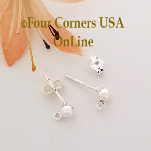 4mm Ball Sterling Silver Post Earring with Loop Special Buy Final Sale BDZ-2153 Four Corners USA OnLine Designer Jewelry Making Beading Craft Supplies