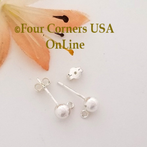 5mm Ball Sterling Silver Post Earring with Loop Special Buy Final Sale BDZ-2154 Four Corners USA OnLine Designer Jewelry Making Beading Craft Supplies