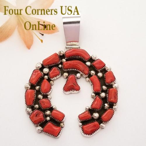 Coral Sterling Naja Pendant Navajo Artisan Kenneth Jones NAP-1618 Four Corners USA OnLine Native American Jewelry