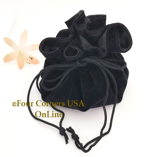 Black Velvet Drawstring Jewelry Travel Gift Pouch 6 Inside Pockets presentation jewelry pouch, travel bag, dice or game piece bag Closeout Final Sale BDZ-2169 Jewelry Supplies Four Corners USA OnLine