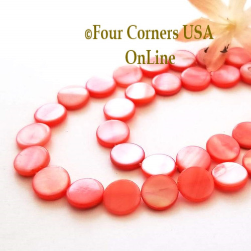 10mm Flat Coin Salmon Mother of Pearl Shell Bead Strands Four Corners USA OnLine Designer Jewelry Making Beading Craft Supplies