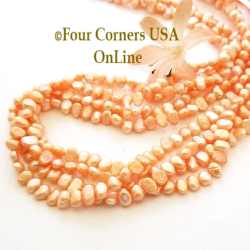 Peach Color Flat Sided Freshwater Pearl Bead Strands Special Buy Final Sale Four Corners USA OnLine Jewelry Making Beading Craft Supplies
