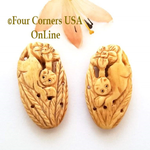 Carved Bone Cat Floral Bead Jewelry Component O-09031 Four Corners USA OnLine Jewelry Making Beading Craft Supplies
