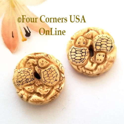 Carved Etched Bone Sea Turtle Bead Jewelry Component O-09037 Four Corners USA OnLine Jewelry Making Beading Craft Supplies