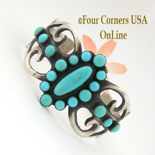 Large 7 inch Turquoise Sterling Cast Cuff Bracelet Navajo Albert J Brown Four Corners USA OnLine Native American Jewelry NAC-09056
