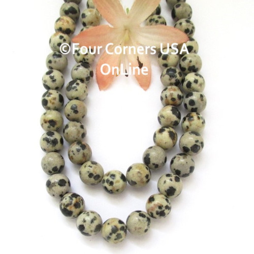 Dalmatian Jasper 8mm Smooth Round 16 inch Bead Strands Closeout Final Sale BDS-16017 Four Corners USA OnLine Jewelry Making Beading Crafting Supplies