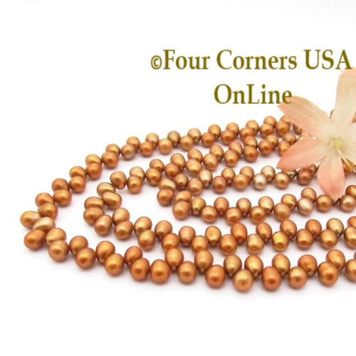 Top Drilled 6mm Teardrop Pumpkin Freshwater Pearl Bead Strands P-TDG-09012 Four Corners USA OnLine Jewelry Making Beading Crafting Supplies