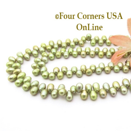 Top Drilled 6mm Teardrop Lime Freshwater Pearl Bead Strands P-TDG-09011 Four Corners USA OnLine Jewelry Making Beading Crafting Supplies