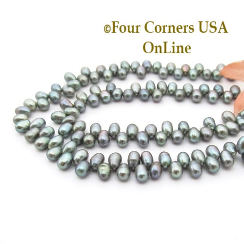 Top Drilled 6mm Teardrop Gray Freshwater Pearl Bead Strands P-TDG-09010 Four Corners USA OnLine Jewelry Making Beading Crafting Supplies