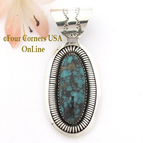 Elongated Emerald Ridge Turquoise Pendant Navajo Benjamin Piaso Jr NAP-09110 Four Corners USA OnLine Native American Silver Jewelry