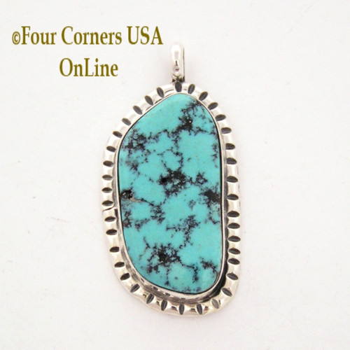 Blue Green Turquoise Stone Pendant by Navajo Betty Thomas Four Corners USA OnLine Native American Indian Jewelry NAP-09028