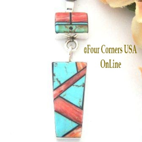 Sun Face Pendant Spiny Oyster Turquoise Intarsia Inlay Native American Silver Jewelry Marilyn Yazzie On Sale Now NAP-09213 Four Corners USA OnLine