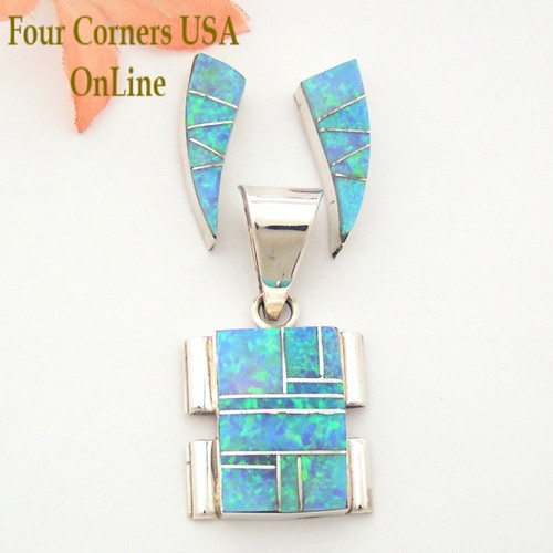 Blue Fire Opal Inlay Pendant Earrings Necklace Set Native American Navajo Silver Jewelry Set On Sale Now Four Corners USA OnLine NAN-09007